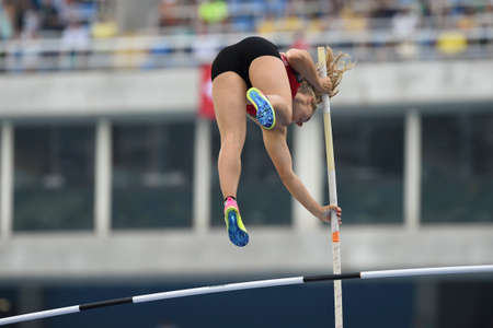 game over: Rio de Janeiro, Brazil - august 16, 2016: MOSER Angelica (SUI) during Womens´s Pole Vault in the Rio 2016 Olympics Games Editorial