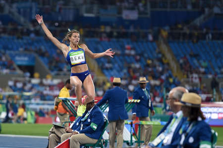 janeiro: Rio de Janeiro, Brazil - august 16, 2016: BEKH Maryna (UKR) during womens Long Jump in the Rio 2016 Olympics Games Editorial