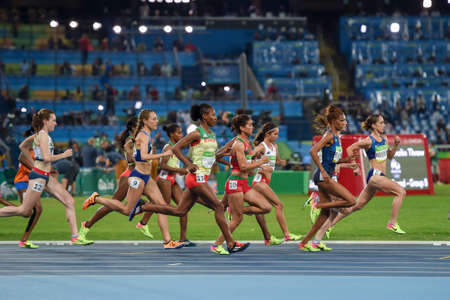 Rio de Janeiro, Brazil - august 16, 2016: Runner Shannon Rowbury (USA) during Womens 1500mfinal in the Rio 2016 Olympics Games Editorial