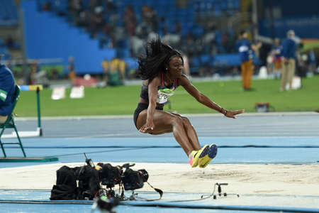 salto largo: Rio de Janeiro, Brazil - august 16, 2016: NETTEY Christabel (CAN) during womens Long Jump in the Rio 2016 Olympics Games