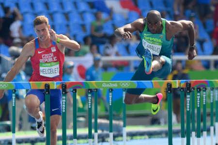 Rio de Janeiro, Brazil - august 18, 2016: Runner Luiz Alberto de ARAUJO (BRA) during Men´s Decathon (110m Hurdles) in the Rio 2016 Olympics Games Editorial