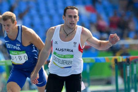 Rio de Janeiro, Brazil - august 18, 2016: Runner Dominik DISTELBERGER (AUT) during Men´s Decathon (110m Hurdles) in the Rio 2016 Olympics Games Editorial