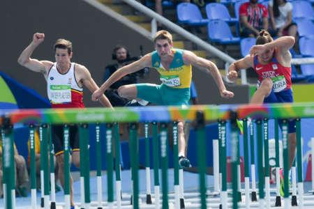 Rio de Janeiro, Brazil - august 18, 2016: Runner DUBLER Cedric (AUS) during Men´s Decathon (110m Hurdles) in the Rio 2016 Olympics Games