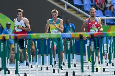 Rio de Janeiro, Brazil - august 18, 2016: Runner DUBLER Cedric (AUS) during Men Decathon (110m Hurdles) in the Rio 2016 Olympics Games Editorial