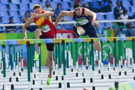 Rio de Janeiro, Brazil - august 18, 2016: Runner TONNESEN Pau (ESP) during Men´s Decathon (110m Hurdles) in the Rio 2016 Olympics Games