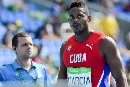 Rio de Janeiro, Brazil - august 18, 2016: Runner GARCIA Yordani (CUB) during Men Decathon (110m Hurdles) in the Rio 2016 Olympics Games