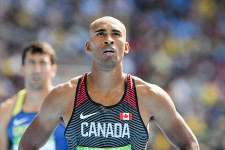 Rio de Janeiro, Brazil - august 18, 2016: Runner xxxxxxxxxxxx during Men´s Decathon (110m Hurdles) in the Rio 2016 Olympics Games