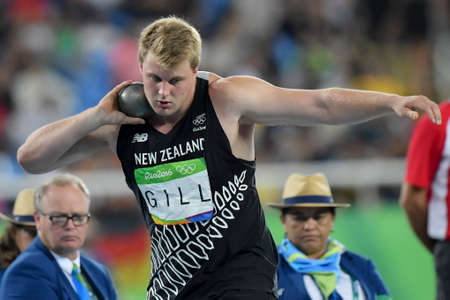 gill: Rio de Janeiro, Brazil - august 18, 2016: Jacko GILL (NZL) during mens shot put final in the Rio 2016 Olympics Games