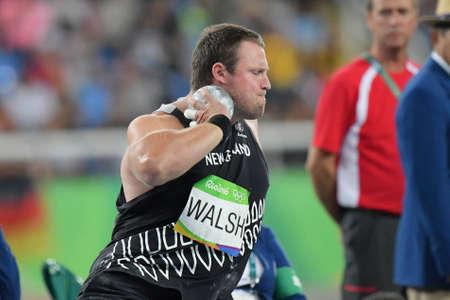 Río de Janeiro, Brasil - 18 de agosto de 2016: Tomas WALSH (NZL) durante la final de lanzamiento de peso de los hombres en los Juegos Olímpicos de Río 2016