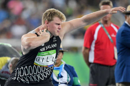 Rio de Janeiro, Brazil - august 18, 2016: Jacko GILL (NZL) during mens shot put final in the Rio 2016 Olympics Games