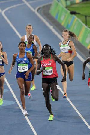 Rio de Janeiro, Brazil - august 18, 2016: Runner WAMBUI Margaret Nyairera (KEN) during 800m womens run in the Rio 2016 Olympics Games