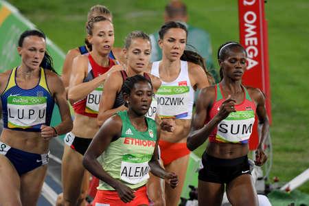 sui: Rio de Janeiro, Brazil - august 18, 2016: Runner Habitam Alemu (ETH) during 800m womens run in the Rio 2016 Olympics Games Editorial