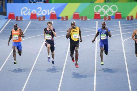 Rio de Janeiro, Brazilië - augustus 18, 2016: Runner xxxxxxxxxxx tijdens 800m Men's run in de Olympische spelen van Rio 2016 Stockfoto - 89571543