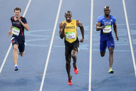 Rio de Janeiro, Brazil - august 18, 2016: Runner Usain Bolt (JAM) during 800m Mens run in the Rio 2016 Olympics Editöryel