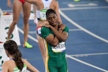 Rio de Janeiro, Brazil - august 16, 2016: Runner SEMENYA Caster (RSA) during 800m womens run in the Rio 2016 Olympics