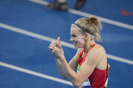 Rio de Janeiro, Brazil - august 18, 2016: Runner Sara Slott PETERSEN (DEN) during womens 400m Hurdles in the Rio 2016 Olympics Editorial