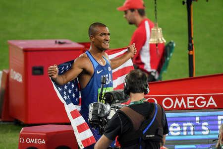 Rio de Janeiro, Brazil - august 18, 2016: Runner Ashton Eaton (USA) during Decathon 1500m Mens run in the Rio 2016 Olympics
