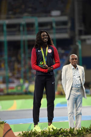 Rio de Janeiro, Brazil - august 18, 2016: Womens 200m podium with Tori BOWIE (USA) bronze medalist during the 2016 Olympics Athletics held at the Olympic Stadium Editorial