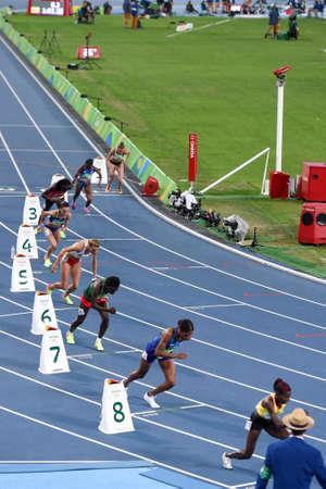 Rio de Janeiro, Brazil - august 18, 2016: Runner Halimah Nakaayi (UGA) during 800m womens run in the Rio 2016 Olympics Games