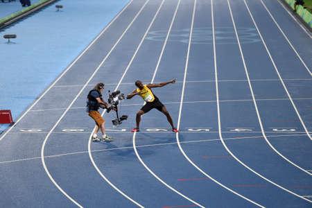 Rio de Janeiro, Brazil - august 18, 2016: Runner Usain Bolt (JAM) during 800m Mens run in the Rio 2016 Olympics Editorial