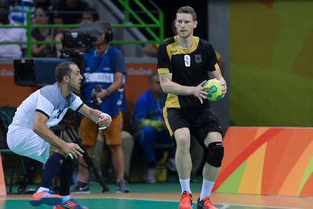 terrain de handball: Rio, Brazil - august 19, 2016: Tobias REICHMANN (GER) during Handball game France (FRA) vs Germany (GER) in Future Arena in the Olympics Rio 2016