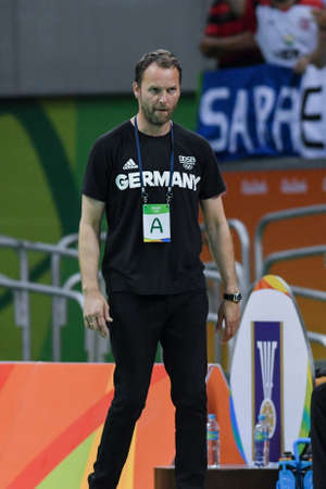 Rio, Brazil - august 19, 2016: da Alemanha Dagur SIGURDSSON (ISL) during Handball game France (FRA) vs Germany (GER) in Future Arena in the Olympics Rio 2016