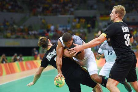 terrain de handball: Rio, Brazil - august 19, 2016: Daniel NARCISSE (FRA) during Handball game France (FRA) vs Germany (GER) in Future Arena in the Olympics Rio 2016