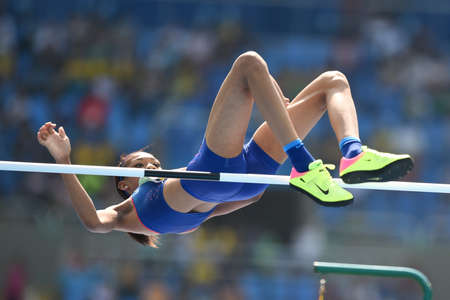 Rio de Janeiro, Brazil - august 18, 2016: CUNNINGHAM Vashti (USA)  during womens high jump in the Rio 2016 Olympics Games Editorial