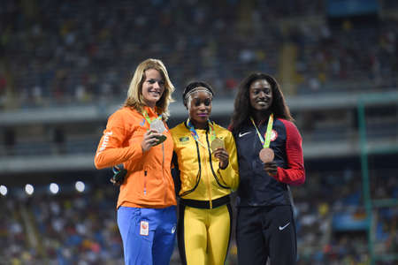 Rio de Janeiro, Brazil - august 18, 2016: womens 200m podium with Elaine THOMPSON (JAM) gold medalist, Dafne SCHIPPERS (NED) silver medalist and Tori BOWIE (USA) bronze medalist during the 2016 Olympics Athletics held at the Olympic Stadium