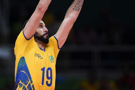 Rio de Janeiro, Brazil - august 17, 2016: Mauricio BORGES ALMEIDA SILVA (BRA) during Mens Volleyball, match Brazil and Argentina in the Rio 2016 Olympics