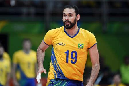 Rio de Janeiro, Brazil - august 17, 2016: Mauricio BORGES ALMEIDA SILVA (BRA) during Men´s Volleyball, match Brazil and Argentina in the Rio 2016 Olympics Editorial