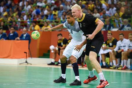 Rio, Brazil - august 19, 2016: Daniel NARCISSE (FRA) during Handball game France (FRA) vs Germany (GER) in Future Arena in the Olympics Rio 2016