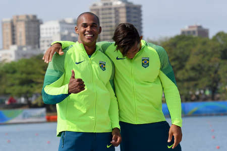 Rio, Brazil. Aug 20, 2016. SOUZA SILVA and QUEIROZ SANTOS (silver medal) during Mens Canoe Double 1000m podium at the Rio2016 Summer Olympic Games