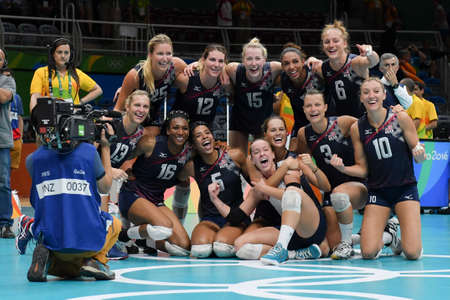 Rio de Janeiro, Brazil - august 20, 2016: USA team celebrate during womens Volleyball,match Nederland and USA in the Rio 2016 Olympics Games