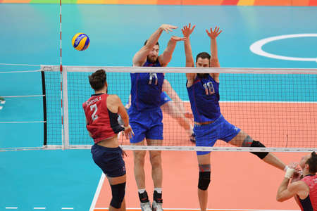 Rio de Janeiro, Brazil - august 21, 2016: Maxim MIKHAYLOV (RUS) and Alexander VOLKOV (RUS) during mens Volleyball,match Russia and USA in the Rio 2016 Olympics Games