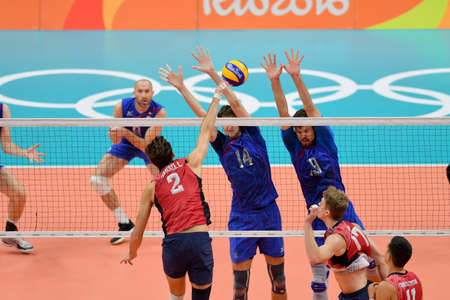 Rio de Janeiro, Brazil - august 21, 2016: Artem VOLVICH (RUS) during mens Volleyball,match Russia and USA in the Rio 2016 Olympics Games