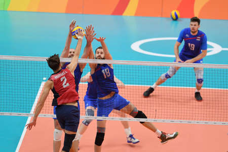 Rio de Janeiro, Brazil - august 21, 2016: Alexander VOLKOV (RUS) during mens Volleyball,match Russia and USA in the Rio 2016 Olympics Games