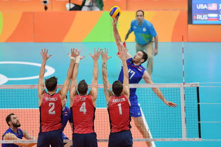 Rio de Janeiro, Brazil - august 21, 2016: Maxim MIKHAYLOV (RUS) during mens Volleyball,match Russia and USA in the Rio 2016 Olympics Games