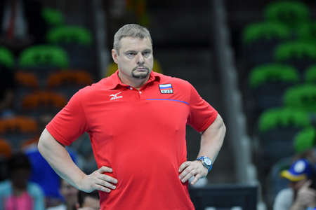 Rio de Janeiro, Brazil - august 21, 2016: Técnico ALEKNO Vladimir (RUS) during mens Volleyball,match Russia and USA in the Rio 2016 Olympics Games