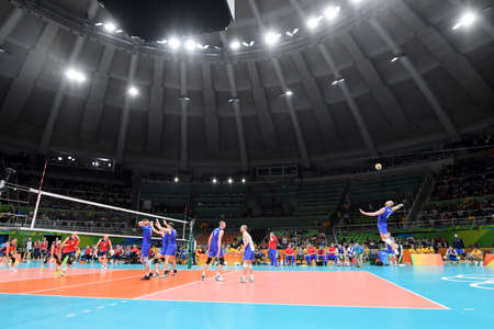 Rio de Janeiro, Brazil - august 21, 2016: Venue during mens Volleyball,match Russia and USA in the Rio 2016 Olympics Games Editorial