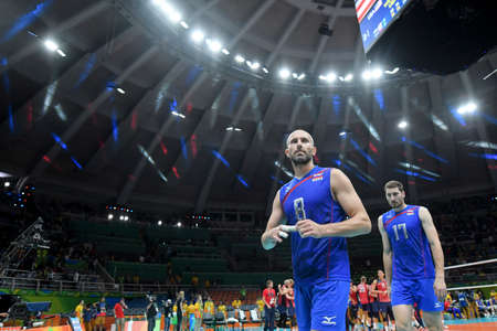 Rio de Janeiro, Brazil - august 21, 2016: Sergey TETYUKHIN (C) (RUS) during mens Volleyball,match Russia and USA in the Rio 2016 Olympics Games