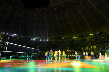 Rio de Janeiro, Brazil - august 21, 2016: Brazilian team during final mens Volleyball,match Brazil and Italy in the Rio 2016 Olympics Games