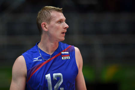 Rio de Janeiro, Brazil - august 21, 2016: Kostyantyn BAKUN (RUS) during mens Volleyball,match Russia and USA in the Rio 2016 Olympics Games