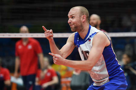 Rio de Janeiro, Brazil - august 21, 2016: Alexey VERBOV (RUS) during mens Volleyball,match Russia and USA in the Rio 2016 Olympics Games