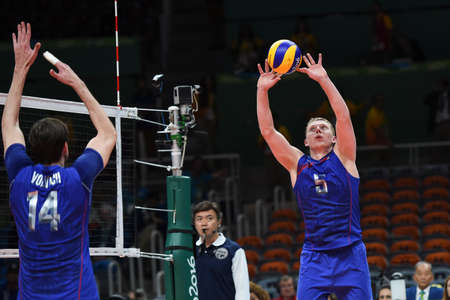 Rio de Janeiro, Brazil - august 21, 2016: Sergey GRANKIN (RUS) during mens Volleyball,match Russia and USA in the Rio 2016 Olympics Games