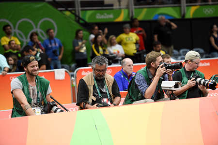 Rio de Janeiro, Brazil - august 21, 2016: Photographers during mens Volleyball,match Russia and USA in the Rio 2016 Olympics Games