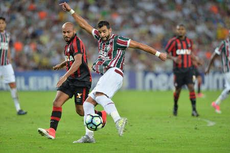 Rio, Brazil - jun 03, 2017: Henrique Dourado player in match between Fluminense and Atletico PR by the Brazilian championship in Maracana Stadium