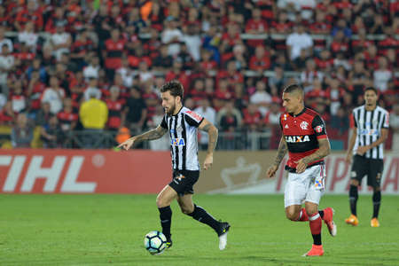 janeiro: Rio, Brazil - jun 28, 2017: Lucas Lima player in match between Flamengo and  Santos by the Brasil Cup in Ilha do Urubu Stadium Editorial