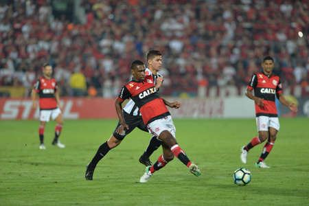 Rio, Brazil - jun 28, 2017: match between Flamengo and  Santos by the Brasil Cup in Ilha do Urubu Stadium