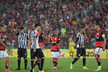Rio, Brazil - jun 28, 2017: Vinicius Junior player in match between Flamengo and  Santos by the Brasil Cup in Ilha do Urubu Stadium